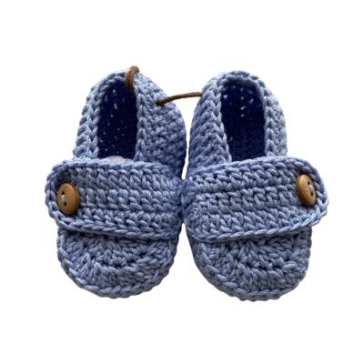 Mocasines Tejidos Crochet Azul