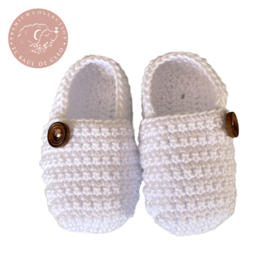 Mocasines Crochet Blanco