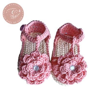 Sandalia Crochet Camelia Rosa