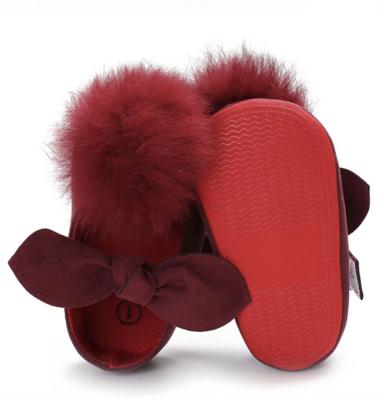 Mary Janes Red Fluffy Pompom