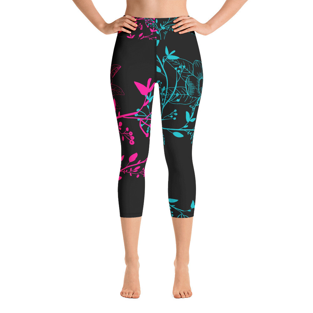 BRAG Floral Women's Yoga Capri Leggings