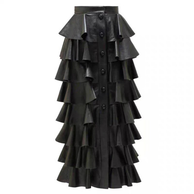 Tiered Faux leather Long Skirt