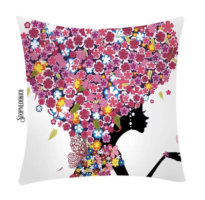 Flower Head Lady Pillow Cover