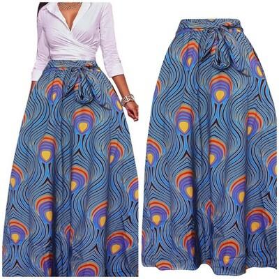 Long Blue Patterned Skirt