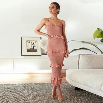 Blush Pink Layered Ruffle Dress