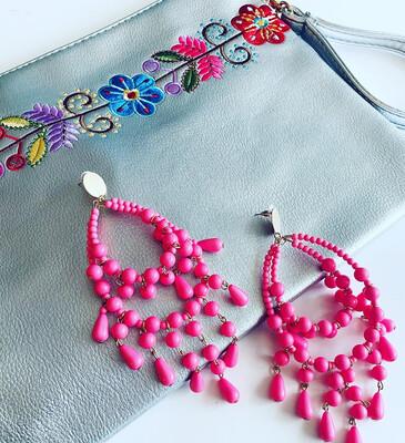 """6"""" Long -Large Hot Pink Chandelier Earrings"""