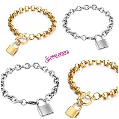 Charm Bracelet With Lock Charm