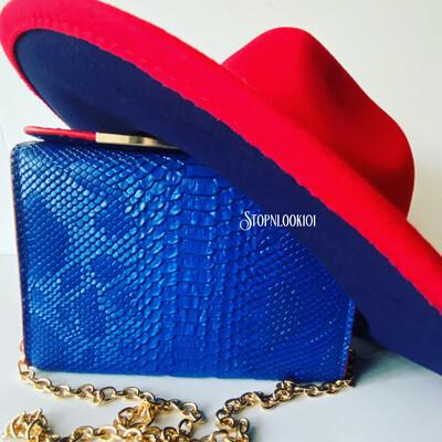Blue Bottom Fedora  Hat