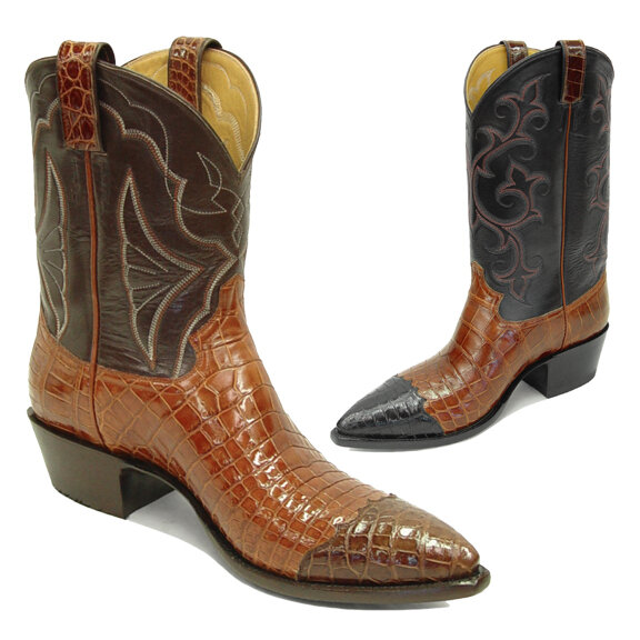 Smooth Nile Crocodile Wing Tip Cowboy Boots