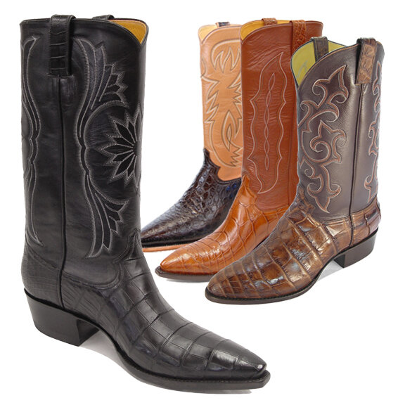 Smooth Nile Crocodile Cowboy Boots