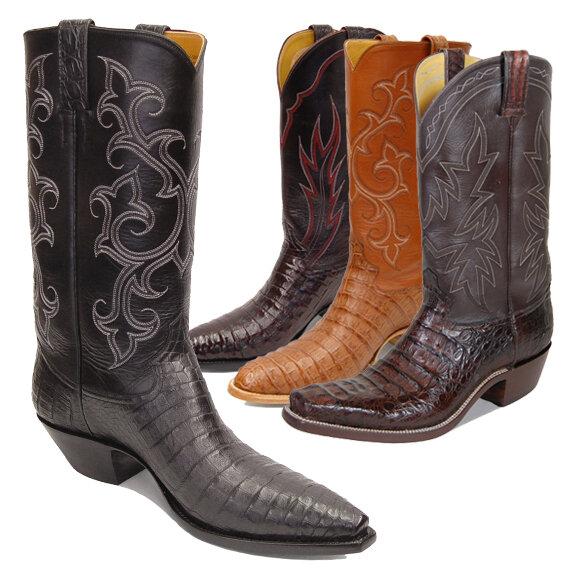 Smooth Caiman Crocodile Cowboy Boots
