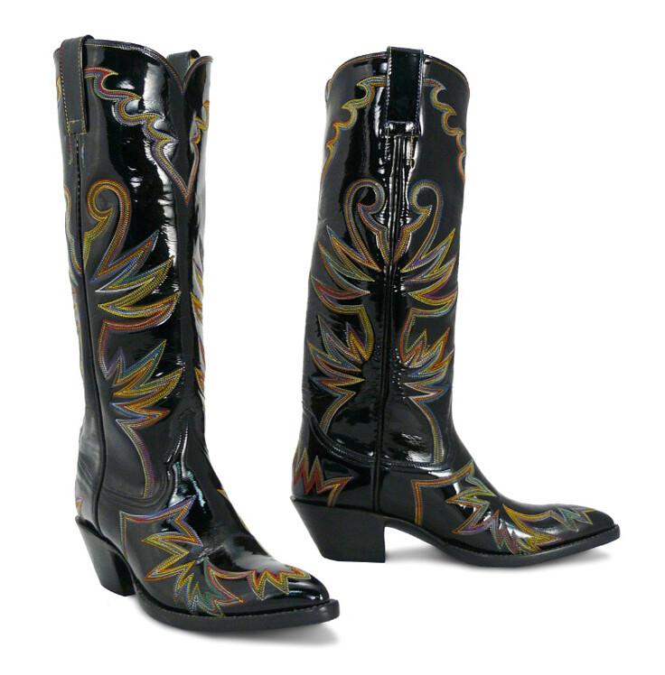 Sassy Sarsaparilla Patent Leather Cowboy Boots