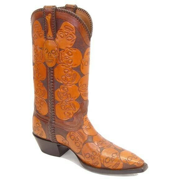 Bad Bones Hand-Tooled Cowboy Boots