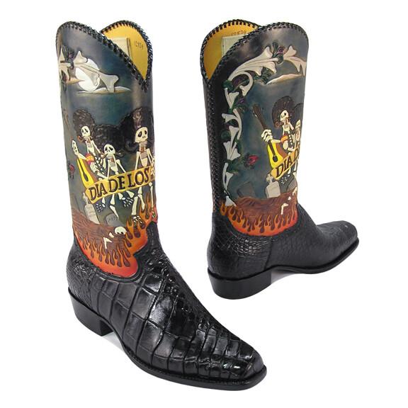 Dia de los Mungle Hand-Tooled Nile Cowboy Boots