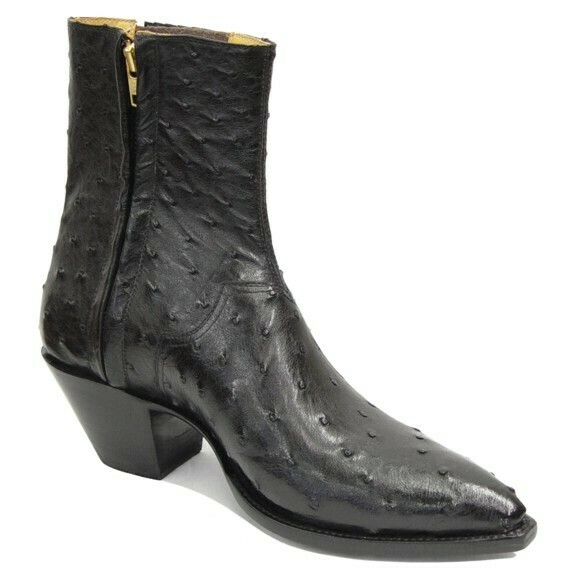 Full Quill Ostrich Ankle Boots