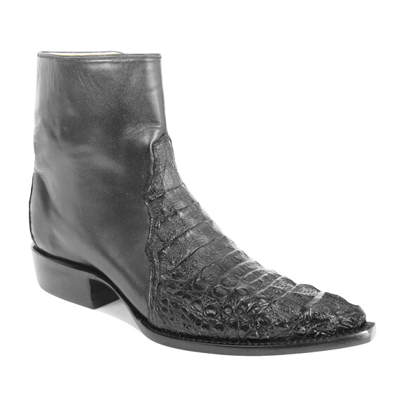 Hornback Caiman Crocodile Ankle Boots
