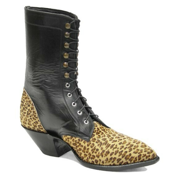 Leopard Hair-On Lace-Up Packer Boots