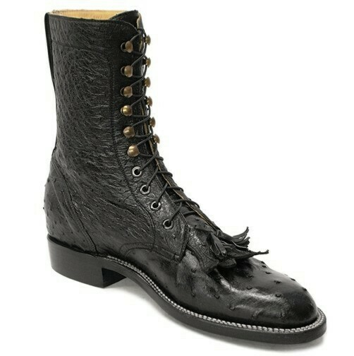 Full Quill Ostrich Lace-Up Packer Boots