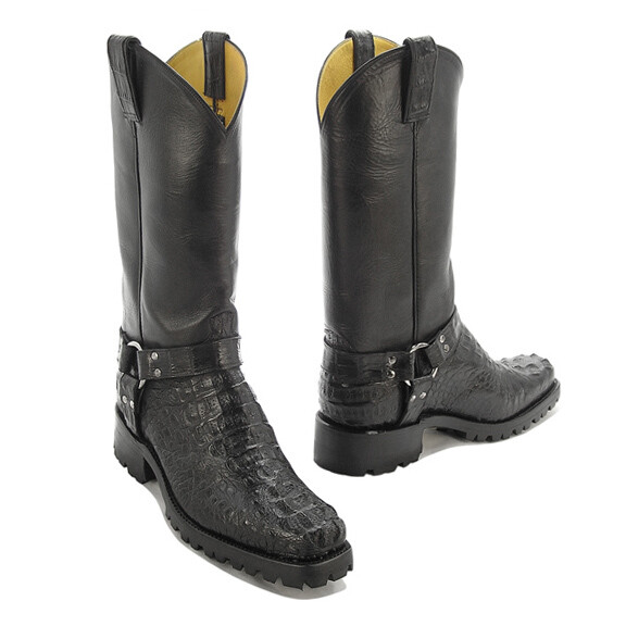 Caiman Hornback Crocodile  Motorcycle Boots