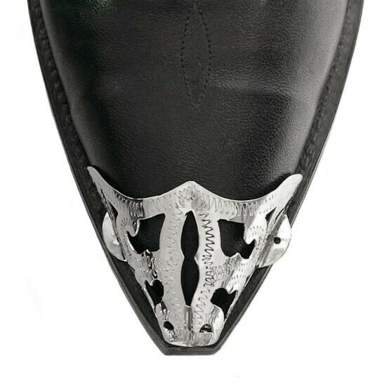 German Silver X-Toe Boot Tips Filigree
