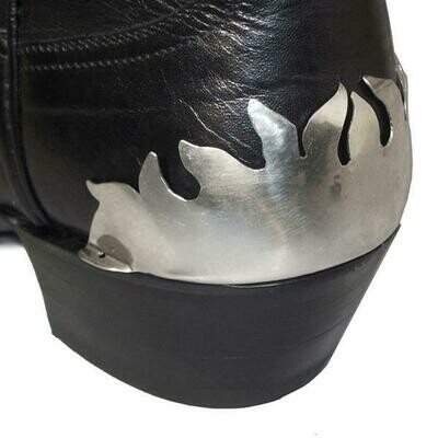Boot Heel Plates Flame (Silver)