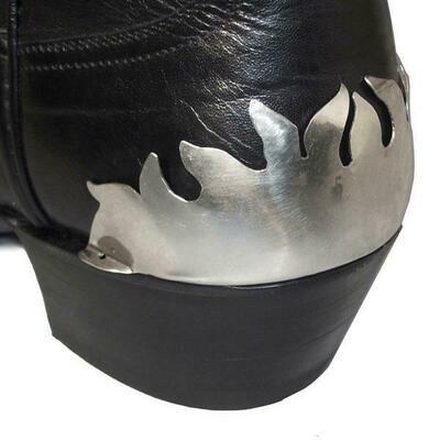 German Alpaca Boot Heel Plates Flame (Silver)
