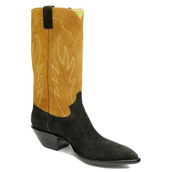 Black & Tan Suede Cowboy Boots