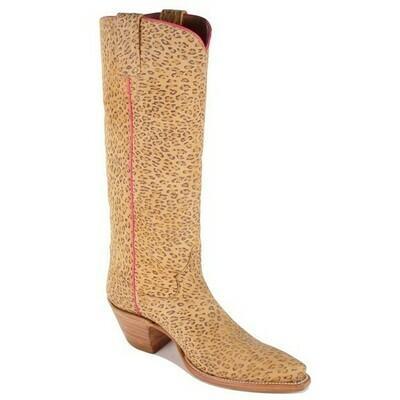 Leopard Print Suede Cowboy Boots