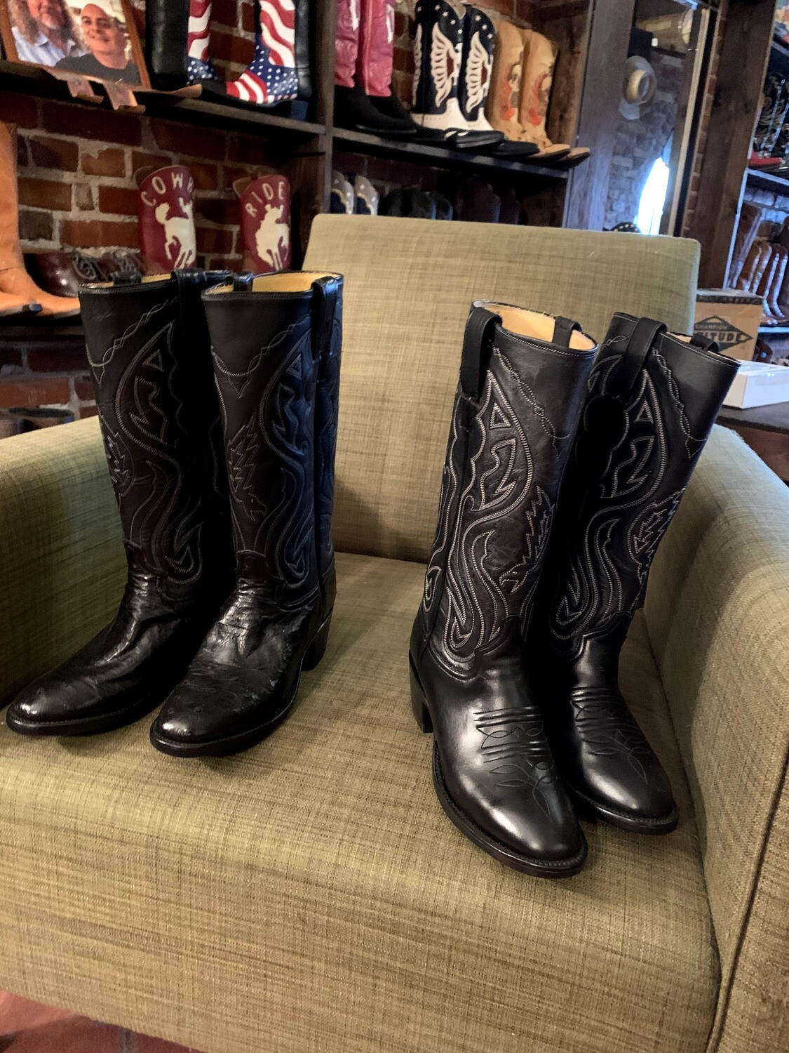 2 pair 6.5B ladies black ostrich boots