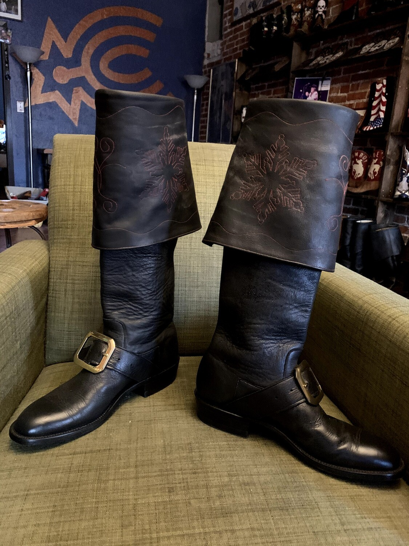 Distress leather Santa boots...12B closeout