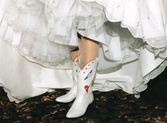 Hearts and Butterflies Wedding Cowboy Boots
