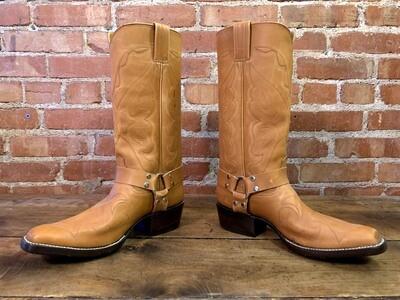 8E Cognac Mulehide Custom Stitch Harness Boots Closeout
