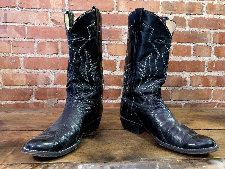 10D Men's Black Eel Cowboy Closeout / pre loved
