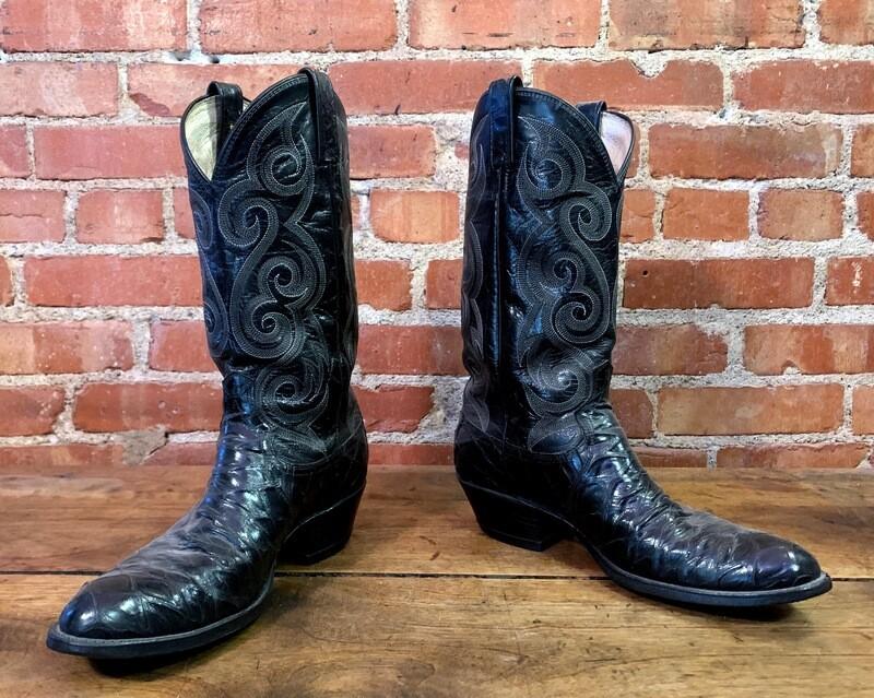 8.5D Men's Dan Post Black Anteater Cowboy Boot Closeout / pre loved