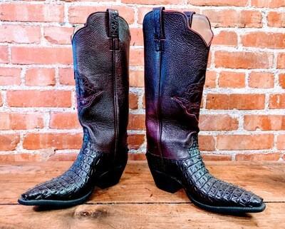 7D Men's Black Cherry Nile Crocodile Cowboy Boot Closeout