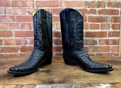 10.5D Men's Black Nile Crocodile Cowboy Boots Closeout / pre loved