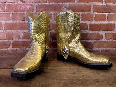 9D Men's Gold Python Cowboy Closeout