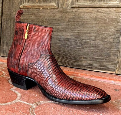 Black Cherry Ringtail Lizard Ankle Boots