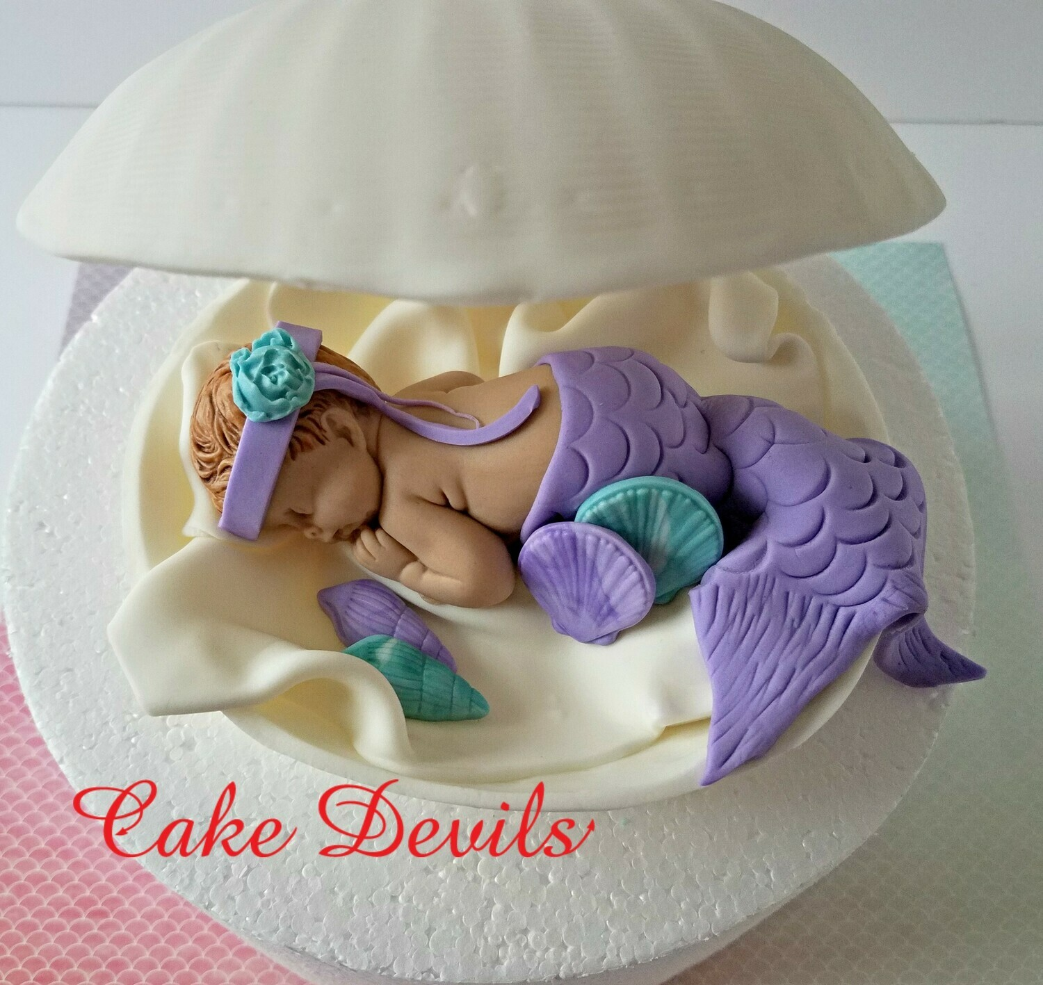 Mermaid in a Clam shell Baby Shower Cake Topper, Handmade of Fondant