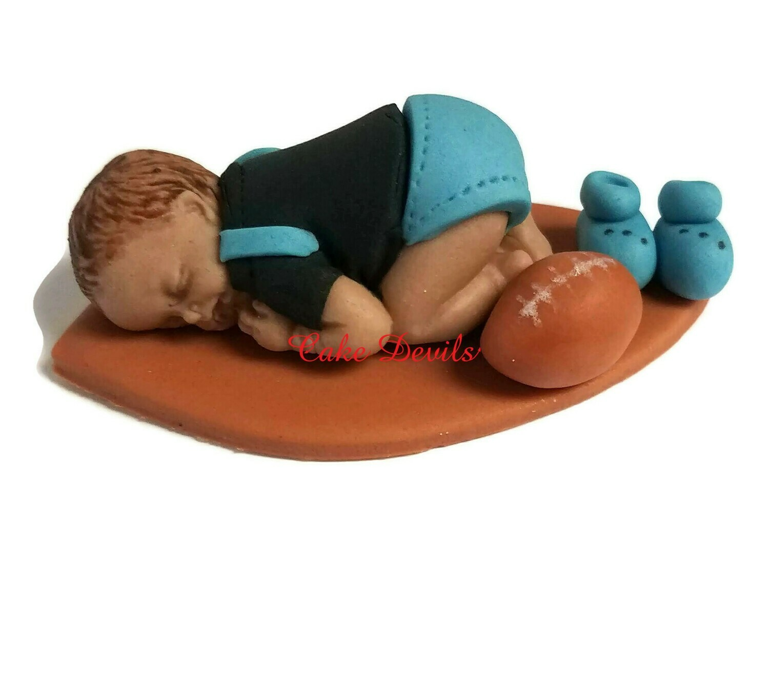 Fondant Baby Boy Football Baby Shower Cake Topper