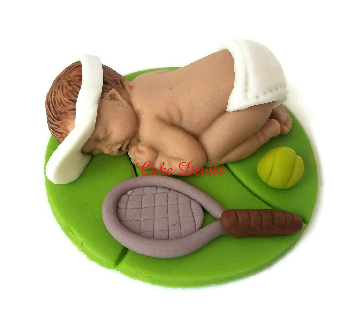 Fondant Tennis Baby Shower Cake Topper