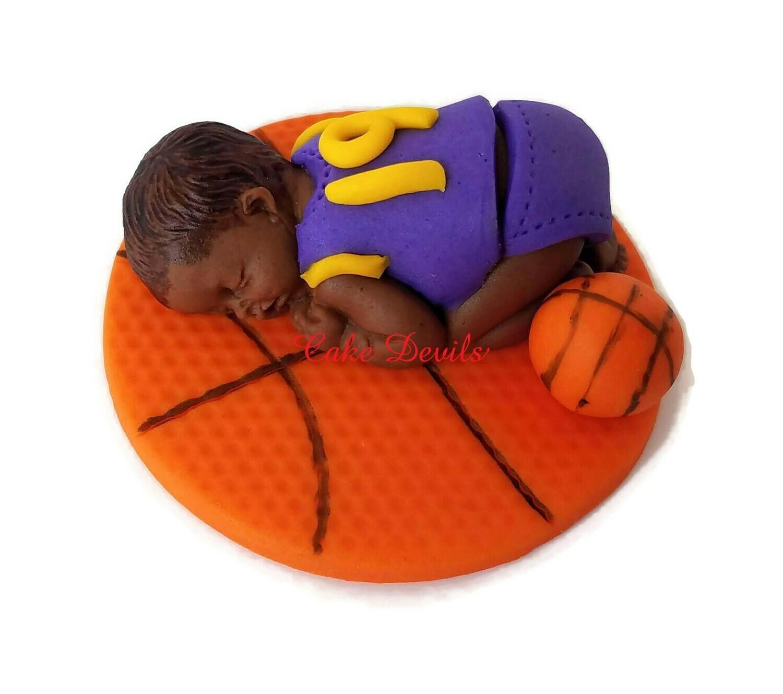 Fondant Baby Boy Basketball Cake Topper, Sleeping Baby Shower Cake Decoration
