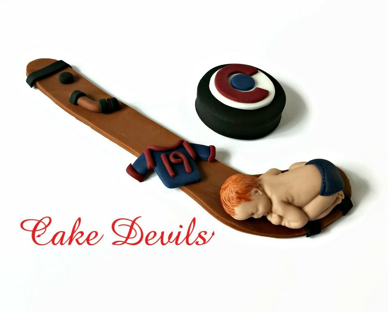 Hockey Baby Boy Fondant Baby Shower Cake Topper