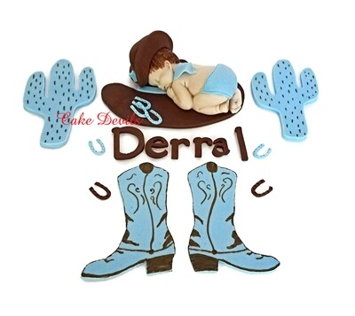 Cowboy Baby Shower Cake Topper, Fondant Sleeping Baby Cowboy, Cowboy Boots Cake Decorations