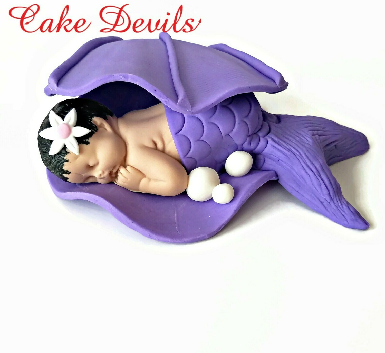 Mermaid Baby in a Waved Clam shell Baby Shower Cake Topper, Fondant Clam shell Cake Decoration