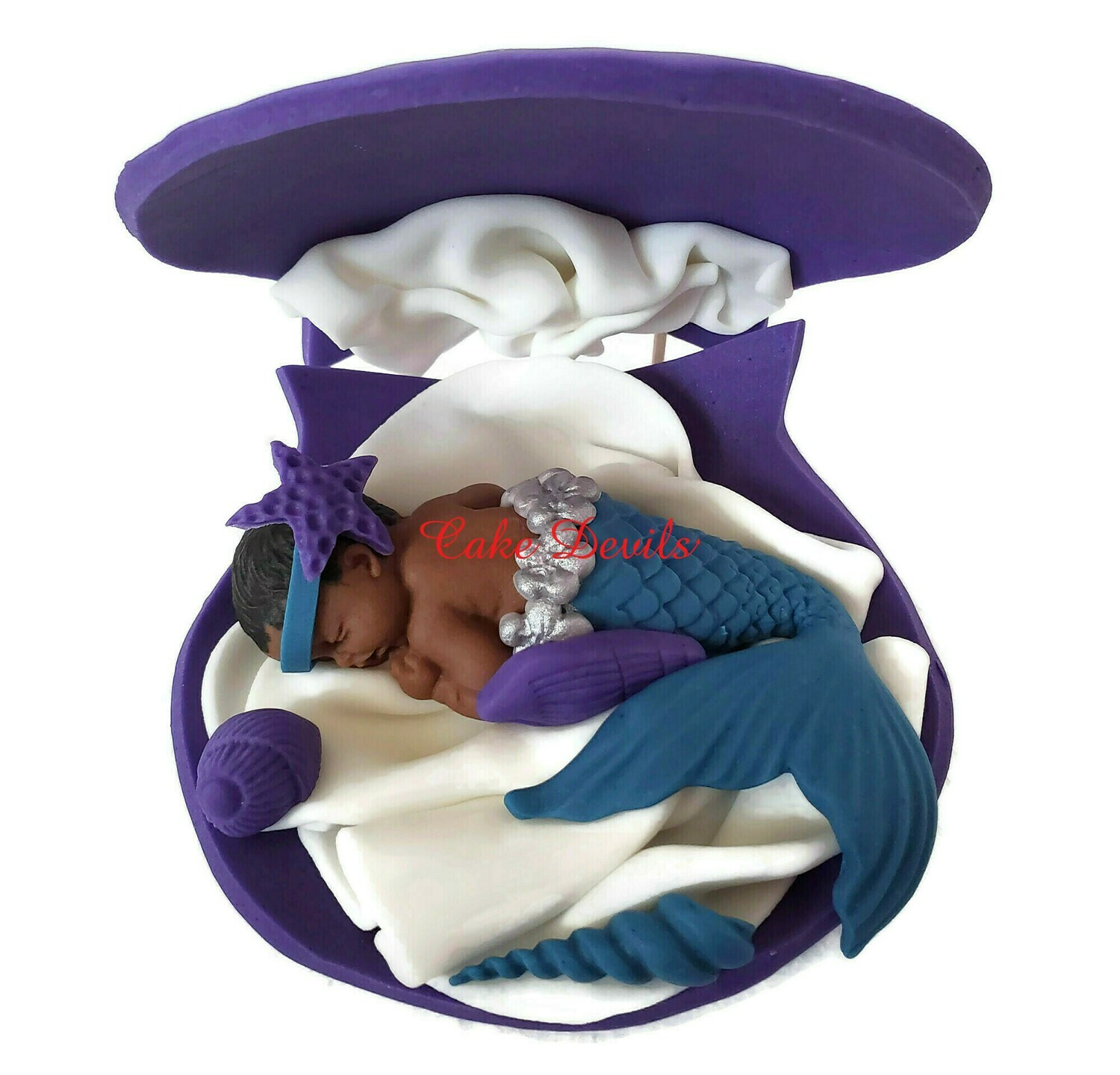 Mermaid Baby Shower Cake Topper Sleeping in a Large Fondant Shell