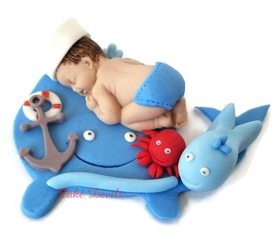 Whale Baby Shower Fondant Sleeping Baby Cake Topper for Ocean, Sea, Nautical, or Sailor baby shower