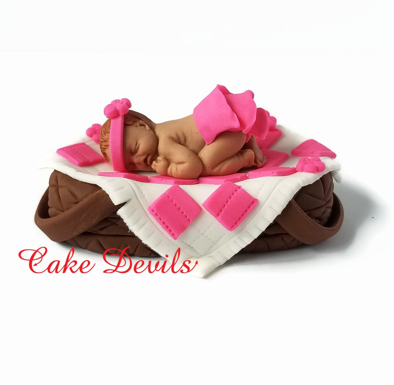 Fondant Baby in a Picnic Basket Baby Shower Cake Topper perfect for a BBQ, Babyque, babyq, or picnic shower