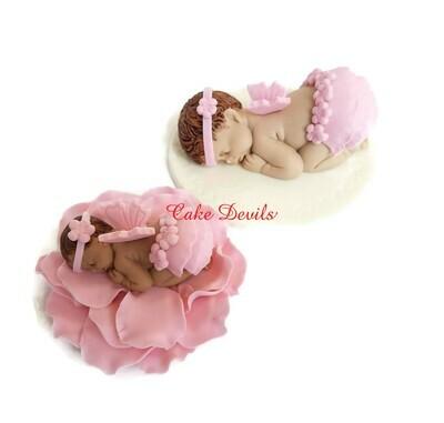 Fondant Baby girl baby shower Cake Topper, Pink Ruffled skirt, Angel Wings and Flower