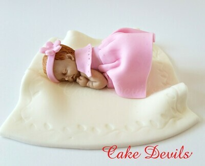 Fondant baby girl in dress Cake Topper for Baby Shower or Baptism